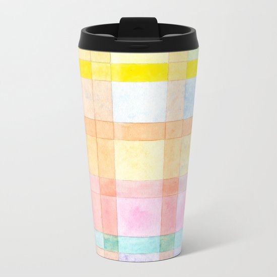 Pastel colored Watercolors Check Pattern Metal Travel Mug