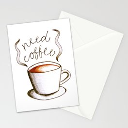 Need Coffee Stationery Cards