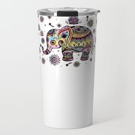 Cute Colorful Elephant Illustration Travel Mug