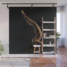 5137s-NLJ Beautiful Woman Nude Headstand Warm Dark Skin Centered Yoga Wall Mural