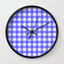 Plaid (Blue & White Pattern) Wall Clock