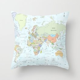 World Atlas & Bathymetry Map [color version] Throw Pillow