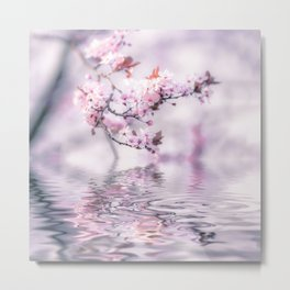 Zen Style Cherry Blossom and Water Metal Print