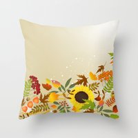 thanksgiving Throw Pillows featuring Golden Thanksgiving by FantasyArtDesigns