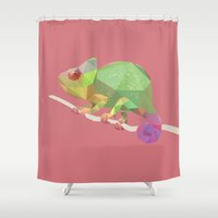 chameleon Shower Curtains featuring Chameleon. by Diana D'Achille