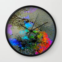 2pac Wall Clocks featuring Urban Rainbow by a.rose
