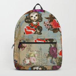 Shabby vintage dog floral landmark pattern Backpack