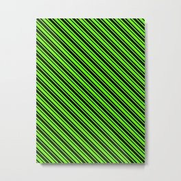 Bright Green and Black Diagonal LTR Var Size Stripes Metal Print