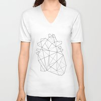 origami V-neck T-shirts featuring Origami Heart by Ana Carvalho