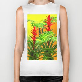 CONTEMPORARY FERNS & BROMELIADS YELLOW-ORANGE MODERN ART Biker Tank