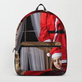 Photo Christmas Smile Winter hat young woman New Y Backpack