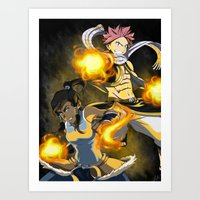 fairy tail Art Prints featuring Lok X Fairy Tail Crossover by Carishinlove
