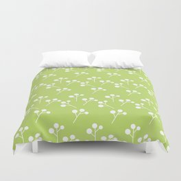 Modern abstract lime green white geometric floral Duvet Cover