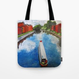 Longboat canal boat on river Tote Bag