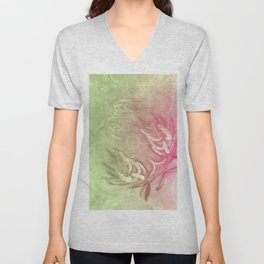 Pink and green wattle and kaleidoscope Unisex V-Neck