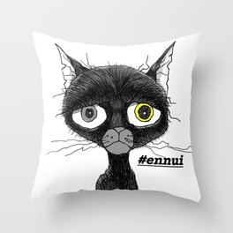 Ennui Black Cat Throw Pillow