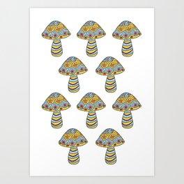 Many Mushrooms (3) Art Print