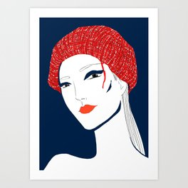 the girl with the hat Art Print