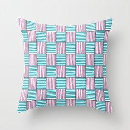 symetric tartan and gingham 22 -vichy, gingham,strip,square,geometric, sober,tartan Throw Pillow