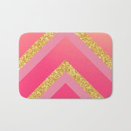 Pink, Rosé, Coral, Gold Triangles - Ombré Watercolor Bath Mat