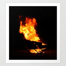 Burning couch  Art Print