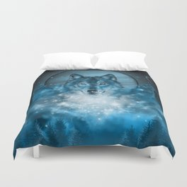 wolf in blue Duvet Cover