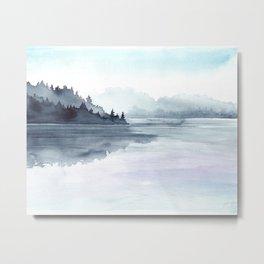 Misty Lake Morning Metal Print