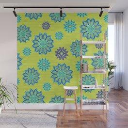 Blue mandala flowers pattern on neon green Wall Mural