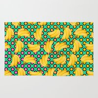 banana Area & Throw Rugs featuring banana by mark ashkenazi