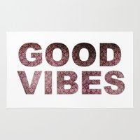 good vibes Area & Throw Rugs featuring GOOD VIBES by Michelle
