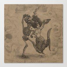 Dancing Mermaid and Skeleton Canvas Print