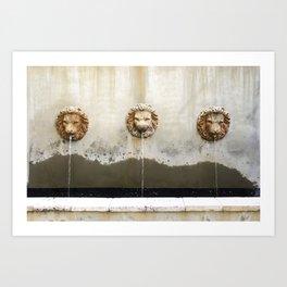 Three Lions Fountain Art Print
