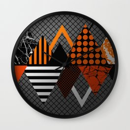Industrial Geometry - Metallic, geometric, bronze, silver and gold, textured, patterned artwork Wall Clock