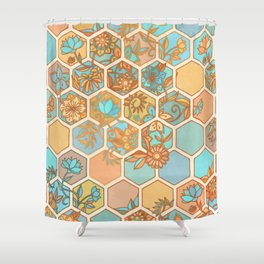 Golden Honeycomb Tangle - hexagon doodle in peach, blue, mint & cream Shower Curtain