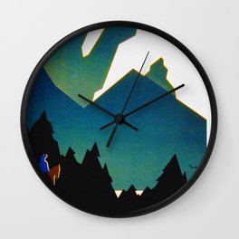See America Montana - Retro Travel Poster Wall Clock