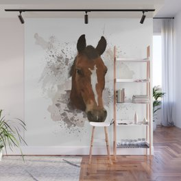 Brown and White Horse Watercolor Wall Mural