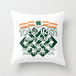 100% Irish Ingredients Beer Whiskey Coffee Gift Throw Pillow