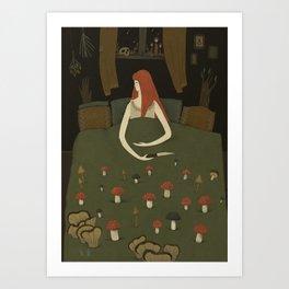 mushroom bed Art Print