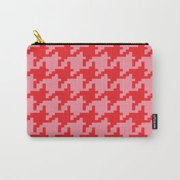 Houndstooth - Pink & Red Carry-All Pouch