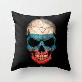 Dark Skull with Flag of Russia Throw Pillow
