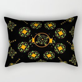 Orange and Green Spaces 115 Rectangular Pillow