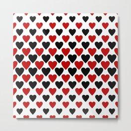 Black red heart pattern Metal Print