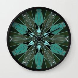 blue green star Wall Clock