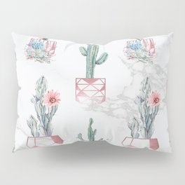 Cactus Rose Gold Marble Potted Cactuses and Succulents Pillow Sham