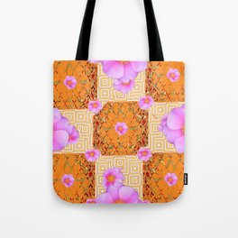 Quilted Style Fuchsia Pink Wild Rose Orange Pattern Abstract Tote Bag