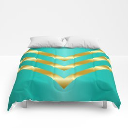 Gold strips on royal green gradient Comforters
