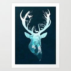 Deer Blue Winter Art Print