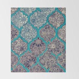 Moroccan Floral Lattice Arrangement - teal Throw Blanket