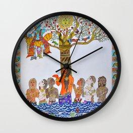 Krishna Leela, Madhubani Painting Wall Clock