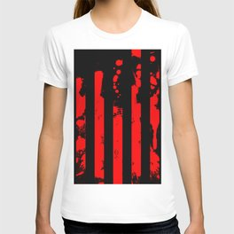 Blood Bars - Geometric, black and red stripes pattern, blood red, paint splat artwork T-shirt